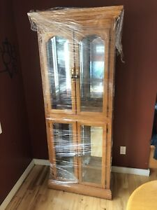 Oak display case with light
