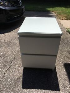 MALM (IKEA) SIDE DRESSER- 2 DRAWER WITH GLASS TOP