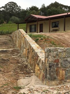 Retainer walls made from granite or iron stone
