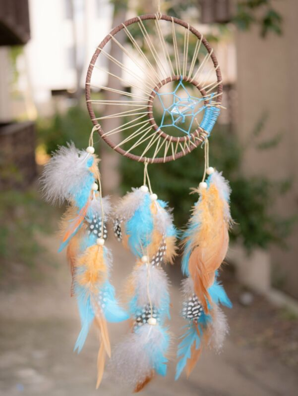 Enola Clear Crystal Native American Dreamcatcher With Brown & Blue Feathers
