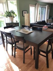 IKEA table and 6 chairs with two leafs