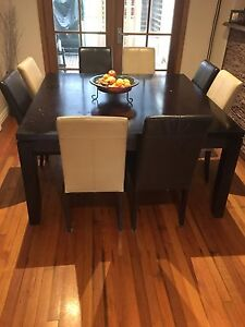 Large square dining table with 8 leather chairs ferntree gully Ferntree Gully Knox Area Preview