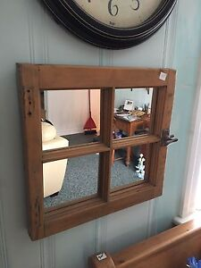 Small Antique pine mirror with original latch