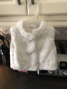 Carter's size 24 month white fur vest
