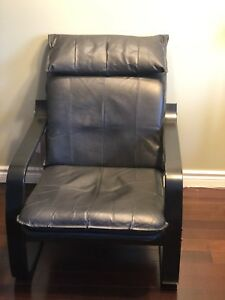 Used IKEA Poang Chair with Black leatherette cover