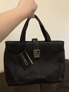 AUTHENTIC Lauren Ralph Lauren , Dark Brown Leather Handbag $100!
