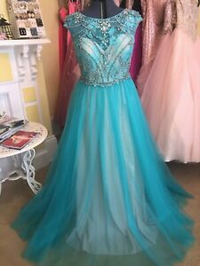 Teal beaded prom dress by Lucci Lu