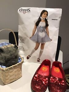 Dorothy Child Costume with shoes and toto in basket