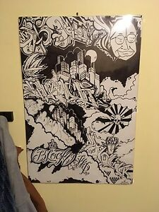 Sharpie style graffiti canvas art collectible framed
