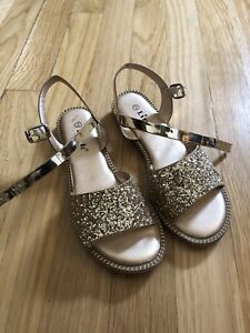 Gold sparkle girls shoes