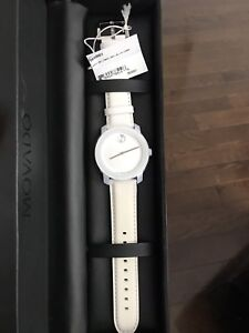 Movado ladies white leather band watch