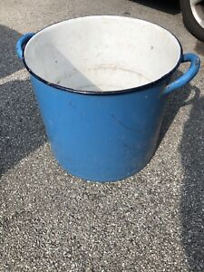 "Vintage 16"" Enamelled Cooking Pot"