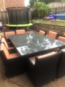 10 seat / seater outdoor setting & dining table ( rattan )