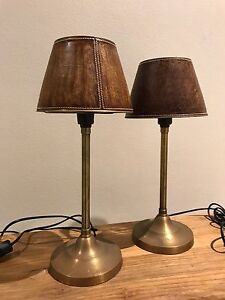 Stunning metal bronze coloured lamps with leather shade! Collaroy Manly Area Preview