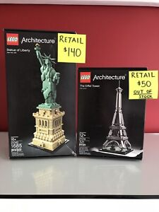 Lego Architecture - 21042 Statue of Liberty - 21019 Eiffel Tower