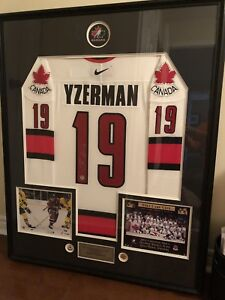 Yzerman Signed Framed Sweater with Photos