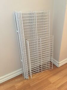 White wire shelves