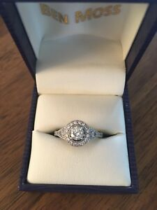 Vintage inspired engagement ring with wedding band.