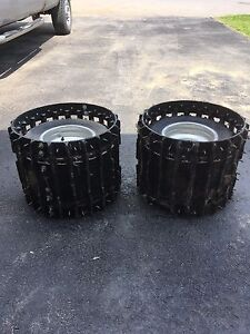 Atv 4 bolt pattern studded tires with bolt-on snowmobile tracks