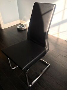 Dining room chairs- Black Leather (6)