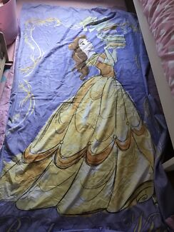 Princess Belle single bed spread with pillow case.