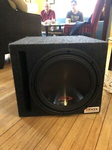 "Alpine type R 12"" subwoofer in box, with amp and cap"