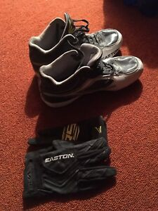 Easton Baseball cleats size 10 and batting gloves M