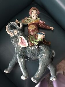 Asian figure riding elephant - one-of-a-kind! Antique
