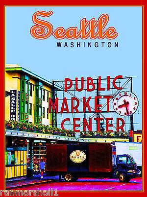 Seattle Washington Pike Place Market United States Travel Advertisement Poster