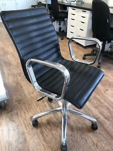 Black and Chrome Leather Office Chair