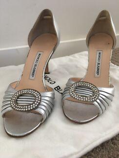 Manolo Blahnik Sedaraby d'Orsay Jeweled Peep-Toe Heels