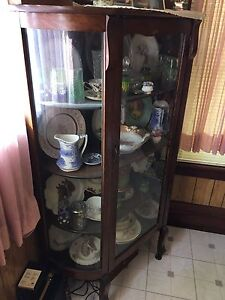 1859 All Original Antique Rounded Glass China Cabinet