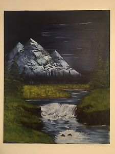 16x20 Oil Painting - Midnight Mountains