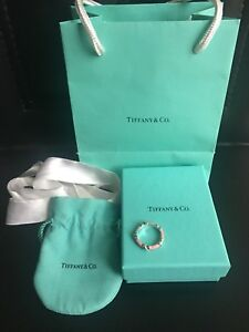 Tiffany and co signature ring pink enamel size 7