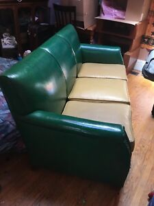 Antique Green Vinyl Couch! 150$ OBO