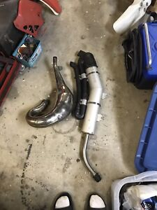 Ktm 200sx pipe $90 . Exc silencer with DBsnorkel $100