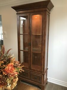 Display cabinet wood and glass in excellent condition