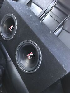 """^** TWO 10"""" COMPETITION KICKER SUBS IN BOX 1000 WATTS EACH"""