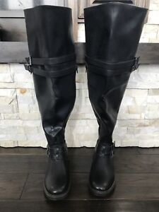 Black over the knees wide leg boot