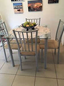 Dining Glass  Table and chairs set Murrumba Downs Pine Rivers Area Preview