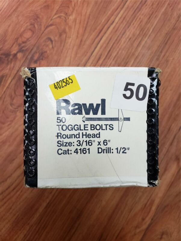 Rawl 4161 3/16 X 6 POWERS ROUND TOGGLE BOLT ZINC PLATED (50 pieces)
