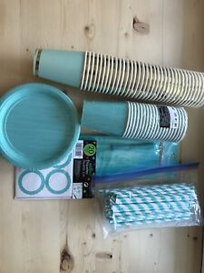 Mint and Gold and Blue Party supplies