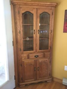 Solid oak corner China cabinet
