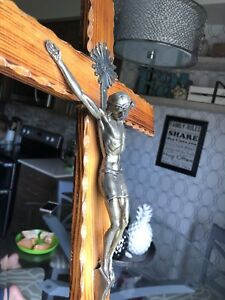 vintage wood and brass crucifix