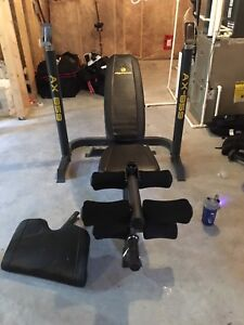 Olympic Bench, rack and curl attachment