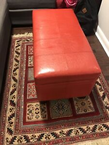 Red leather Ottoman/ Table/Storage