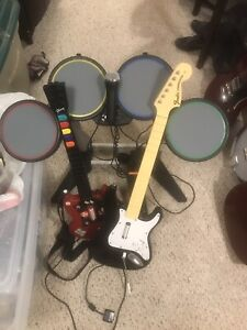 Rockband Drums, Guitar and Microphone