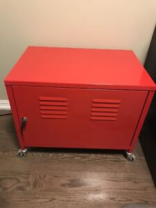 SOLD: Red Ikea PS cabinet. Storage, bar, print stand, side table