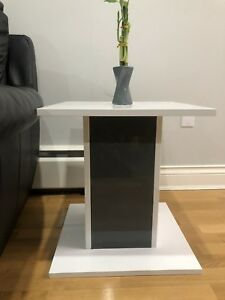WHITE AND GREY SIDE TABLE