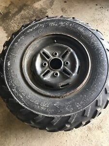 Two front Yamaha rims and tires